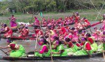 আগৈলঝাড়ায় নারীদের নৌকা বাইচ প্রতিযোগীতা