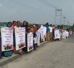 কুমিল্লা মেঘনায় ইউপি চেয়ারম্যানের বিরুদ্ধে অভিযোগের প্রতিবাদে মানববন্ধন ও বিক্ষোভ এলাকাবাসীর